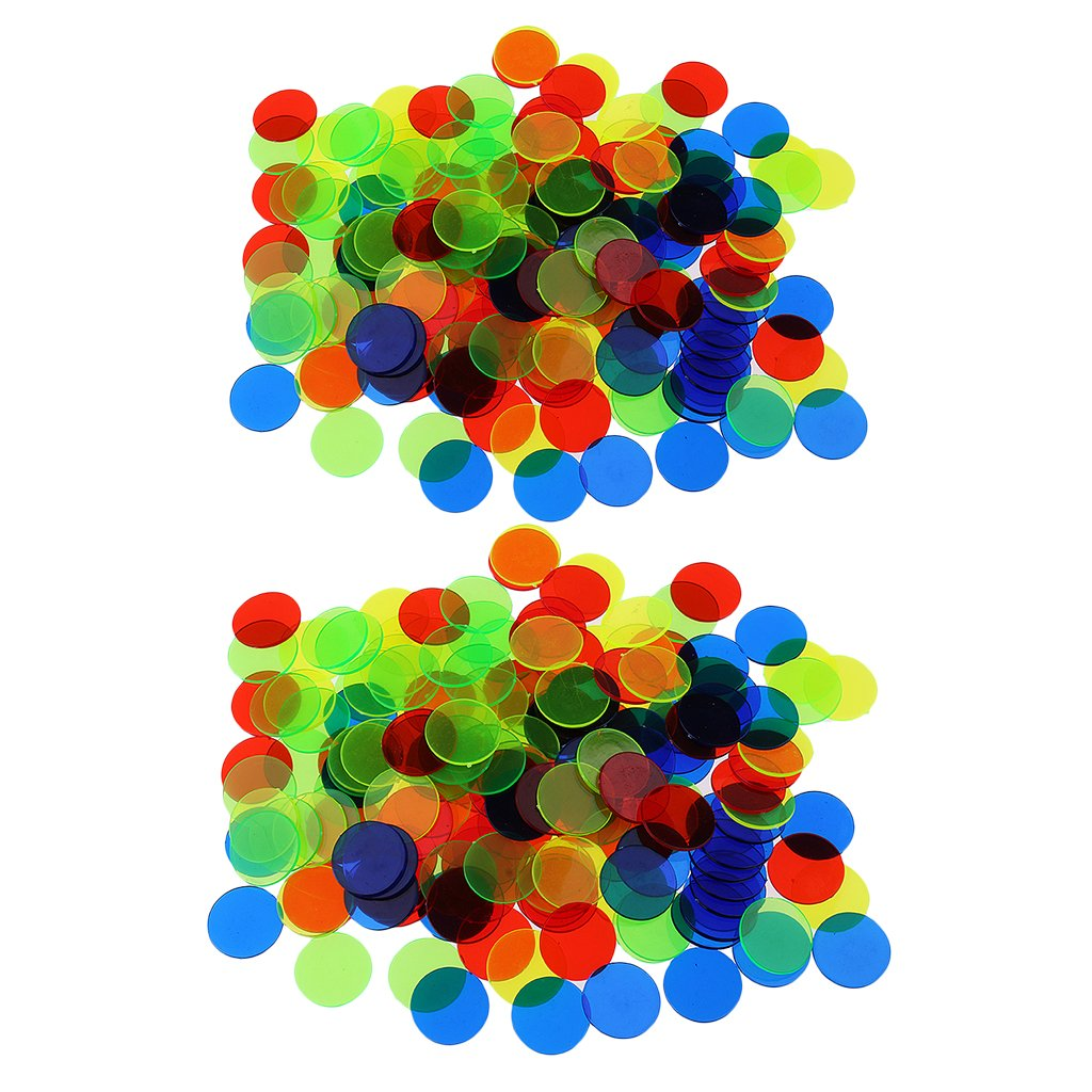 Fenteer 200pc Count Bingo Chips Markers Bingo Game Card 19mm Poker Parts Mixed Color