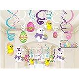 Bdecoll 30Pcs colgantes de decoración de espirales del Conejo/Decoraciones Colgantes de Estrellas de Plástico de Pascua