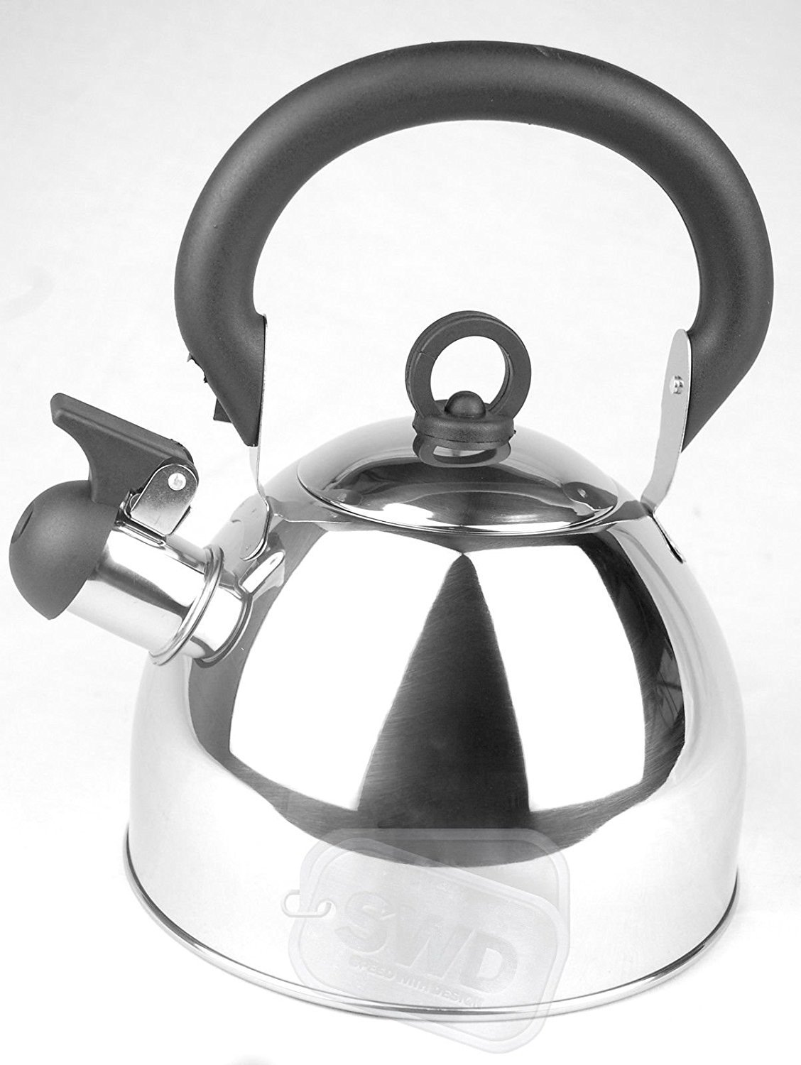Home Cordless 2.5L Stainless Steel Light Weight Whistling Kettle with Traditional/Retro Spout for Hob or Stove Top - by Guilty Gadgets (Cream)