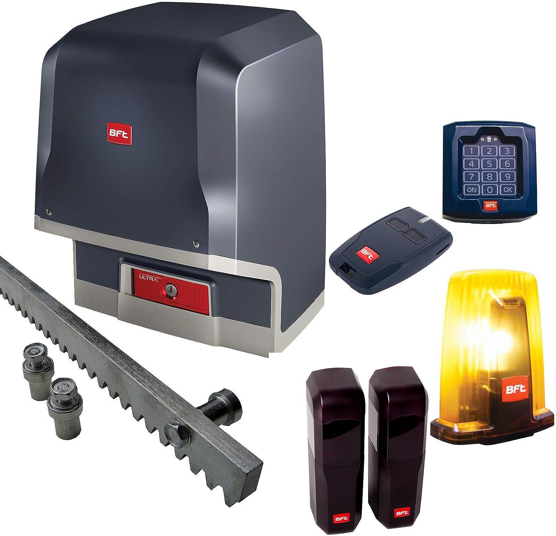 BFT - Sistema de accionamiento para puertas correderas ICARO-Ultra-Kit con cerradura de código, emisor manual, armario de luz, barra de 6 m y luz intermitente de advertencia