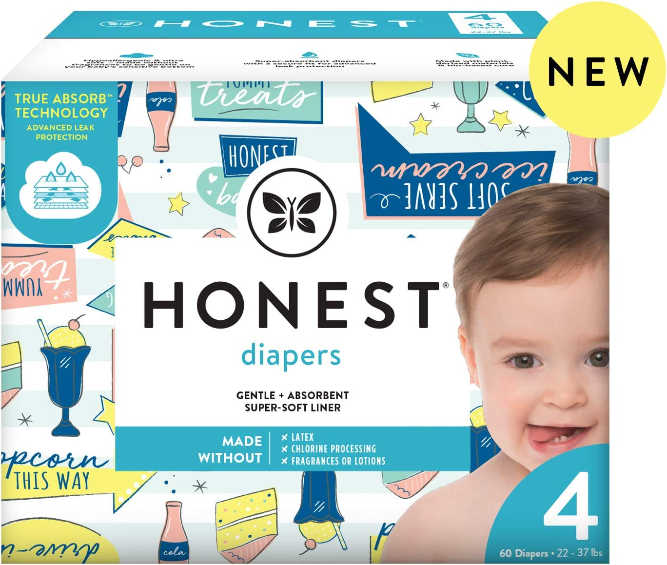 The Honest Company The Honest Company Baby Diapers with True Absorb Technology, Drive-in, Size 4, 60 Count, 60 Count
