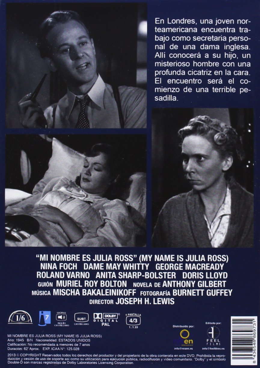 Amazon.com: Mi Nombre Es Julia Ross (Import Movie) (European Format - Zone 2) (2013) Nina Foch, Dame May Whitty, Georg: Movies & TV
