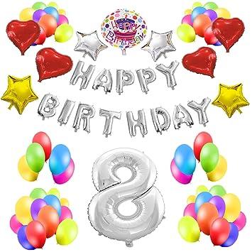 COTIGO - Kit de Globos Cumpleaños Happy Birthday #8 Color Plateado, Año 8
