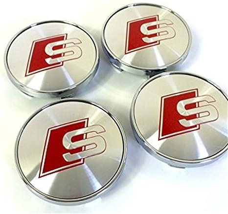 Set di quattro coprimozzi in lega per il centro ruota grigio argentato con logo S Line rosso da 60 mm