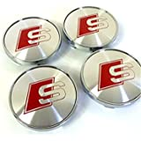Set of Four Alloy Wheels Centre Hub Caps S LINE Red Logo GREY SILVER COVERS Badge 60mm fits AUDI A3 A4 A5 A6 A7 A8 S4 S5 S6 S8 RS4 Q3 Q5 Q7 TT A4L A6L S-line Quattro and Other Models (Silver)