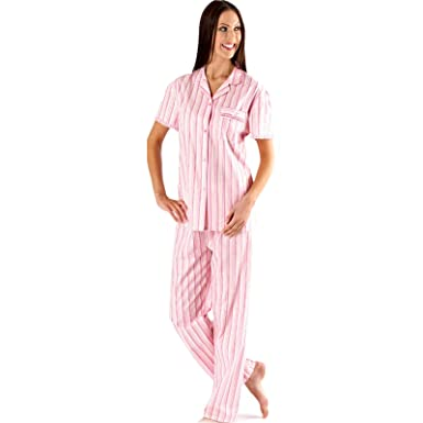 Womens Ladies Pyjama set Pjs Button up Loungewear Nightwear Candy Stripe  (22 24 77f8897b1