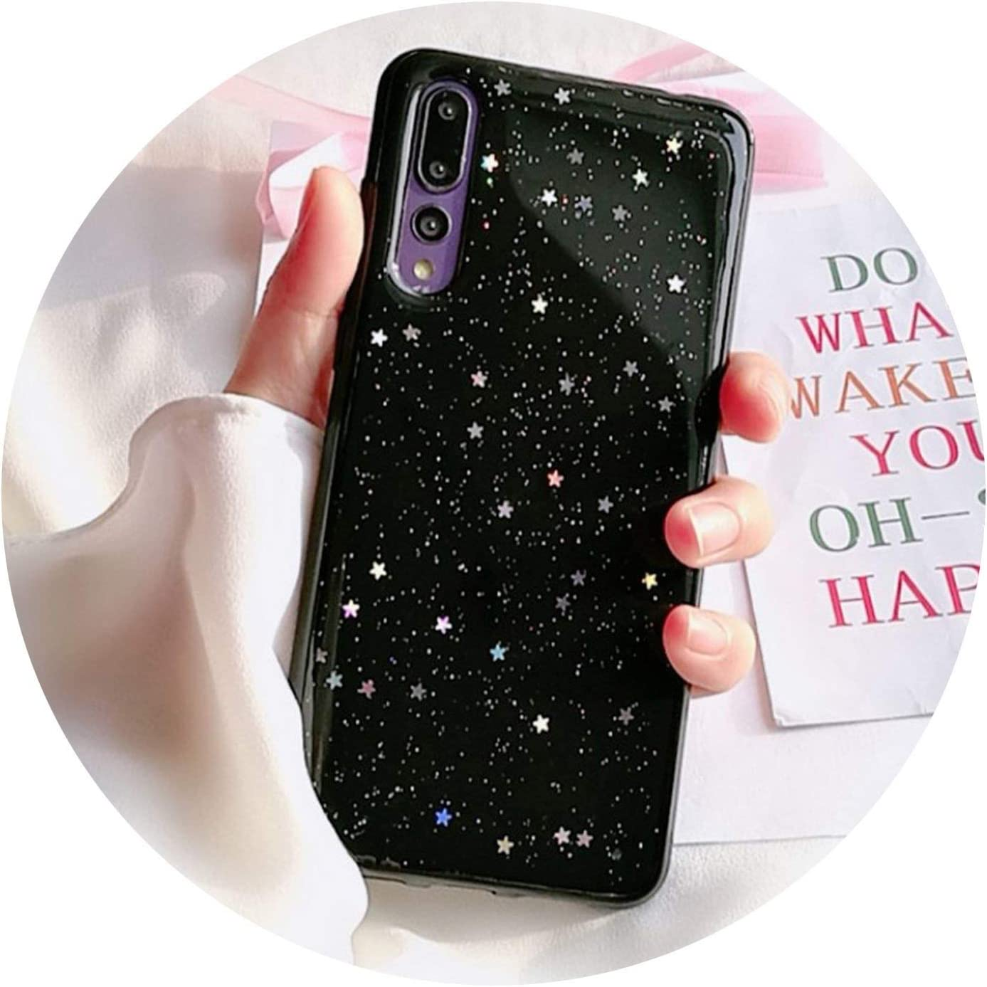 Bling Star Clear Soft Silicon Case for Huawei P20 Pro P Smart for Honor 7C 7A Pro V10 9 10 8 P10 P8 P9 Lite 2017 for Nova 3E 3 2s 2 Plus,3,P10 Plus
