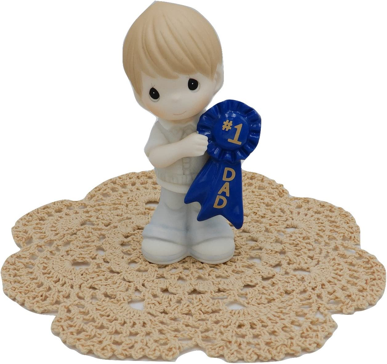 Boy #1 Mom Precious Moments Loving Family collectible figurines with Westbraid Doily 164003
