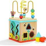 Dreampark ビーズコースター ルーピング 赤ちゃんおもちゃ 多機能 モンテッソーリ知育 アクティビティキューブ 子ども 知育玩具 木製 赤ちゃん マルチプレイセット