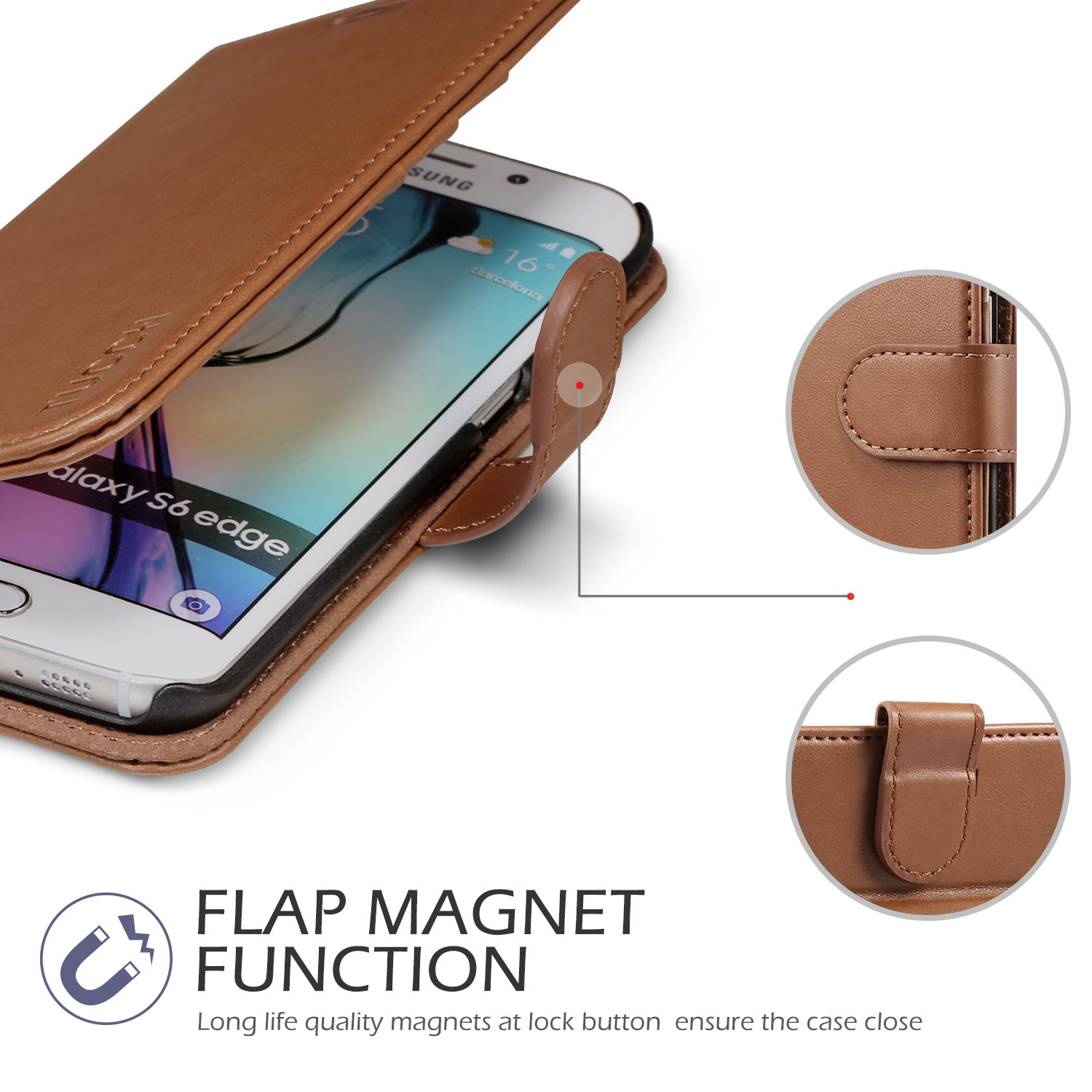 Magnetic Clasp Credit Card Slots Book Style Case with Stand Feature Black Money Pocket TUCCH Galaxy S6 Edge Case Leather Wallet Case Compatible with Galaxy S6 Edge
