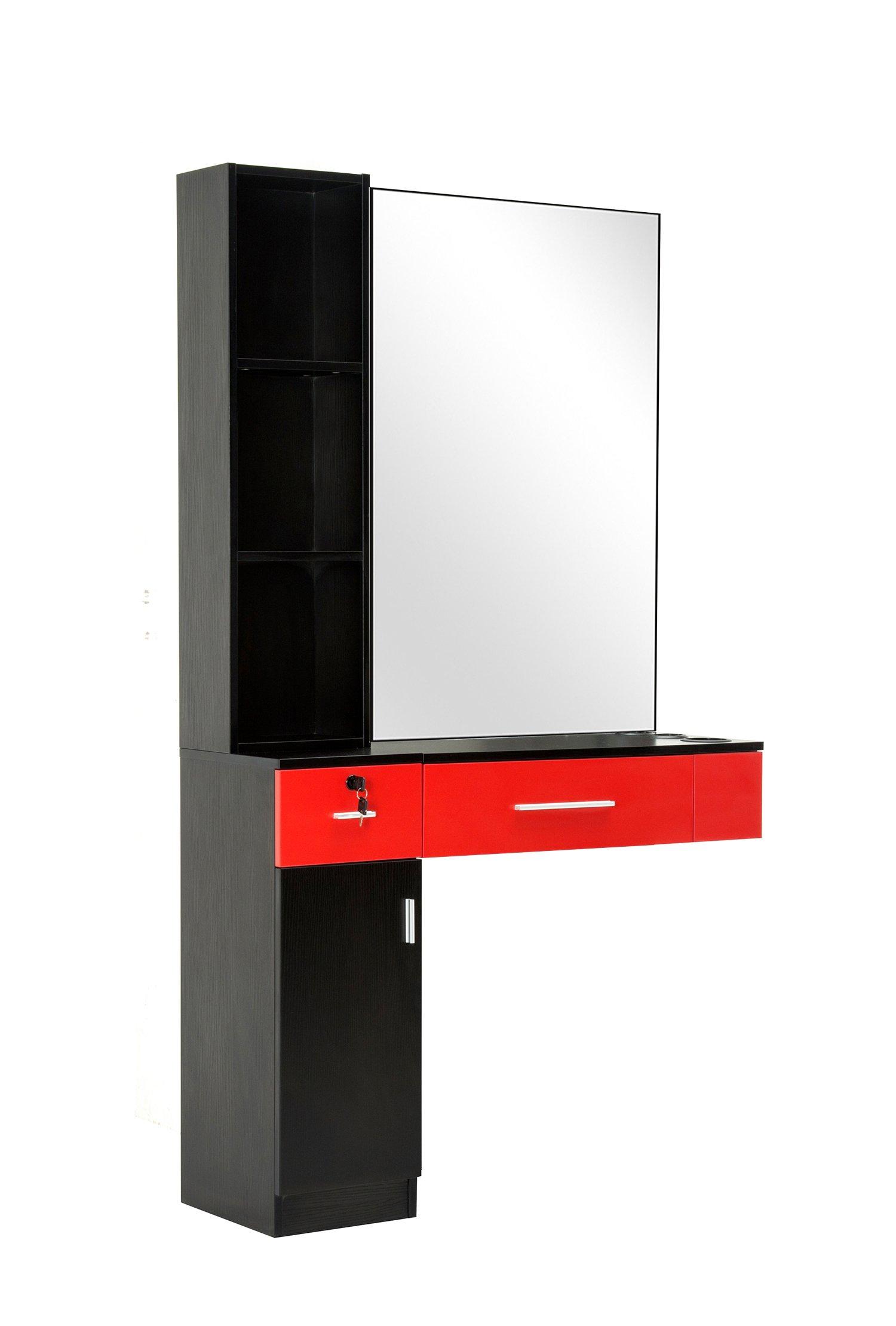 BarberPub Beauty Salon Spa Equipment Set Wall Mount Hair Styling Station W/ Mirror 3036 (Red & Black)