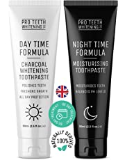 Activated Charcoal Teeth Whitening Toothpaste & Night Time Anti Dry Mouth/Moisturising Toothpaste | Made in The UK by Pro Teeth Whitening Co.®