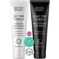Activated Charcoal Teeth Whitening Toothpaste & Night Time Anti Dry Mouth/Moisturising Toothpaste   Made in The UK by Pro Teeth Whitening Co.®