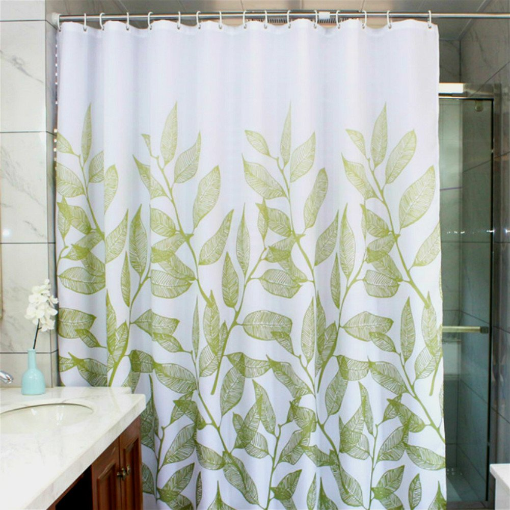 Bathroom shower curtains and matching accessories - Manggou Leaves Fabric Shower Curtain Waterproof Polyester Bathroom Curtain Decorative Shower Curtain Liner With 12 Hooks Mildew Resistant Machine Washable