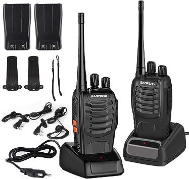 LESHP Walkie Talkie Juego de 2 (16 Canales, VHF/UHF/FM 400-470 MHz, 105 CDCSS, Alcance de hasta 6 km, Indicador de Batería Baja)  Transceptor ...