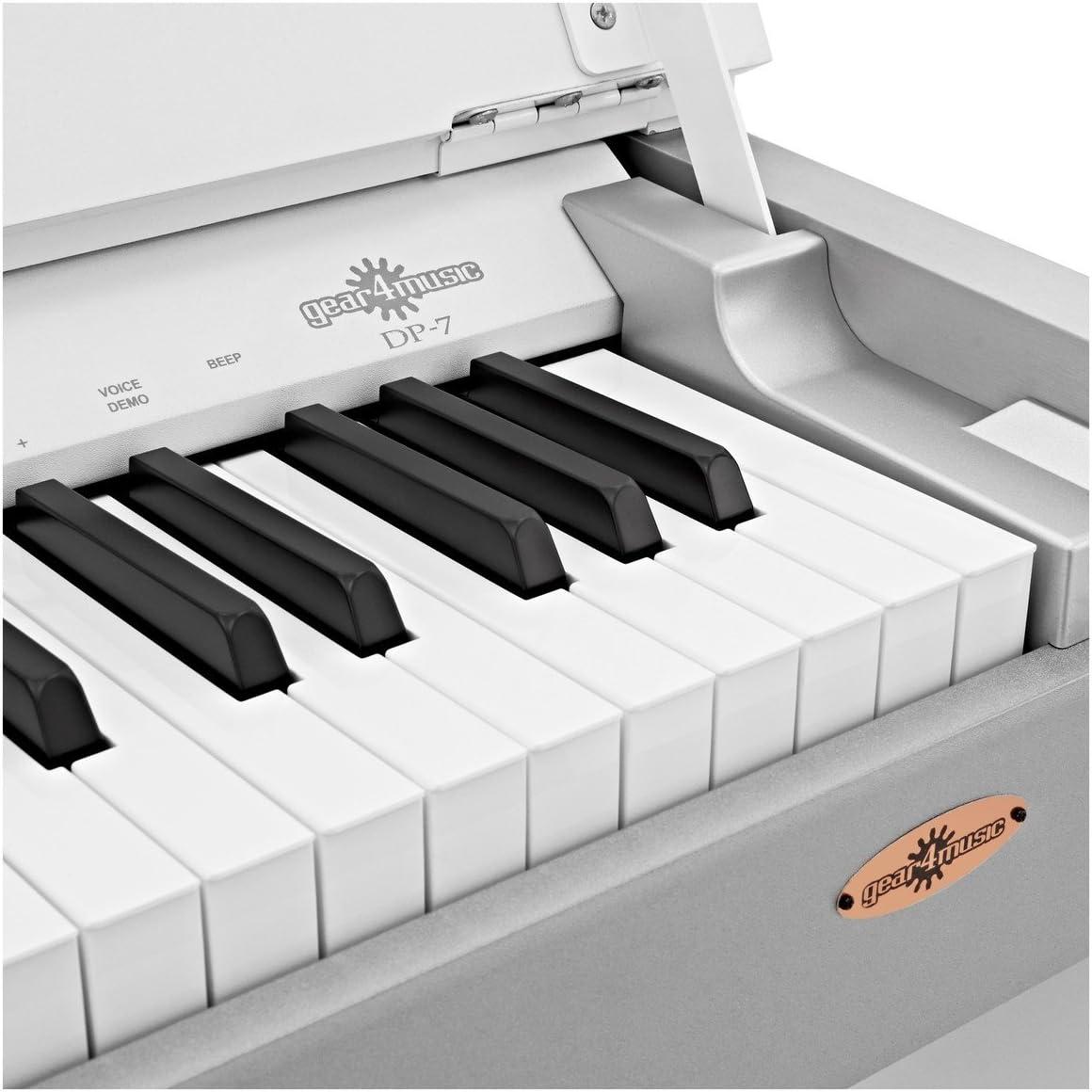 Piano Digital Compacto DP-7 de Gear4music + Paquete de Accesorios Blanco