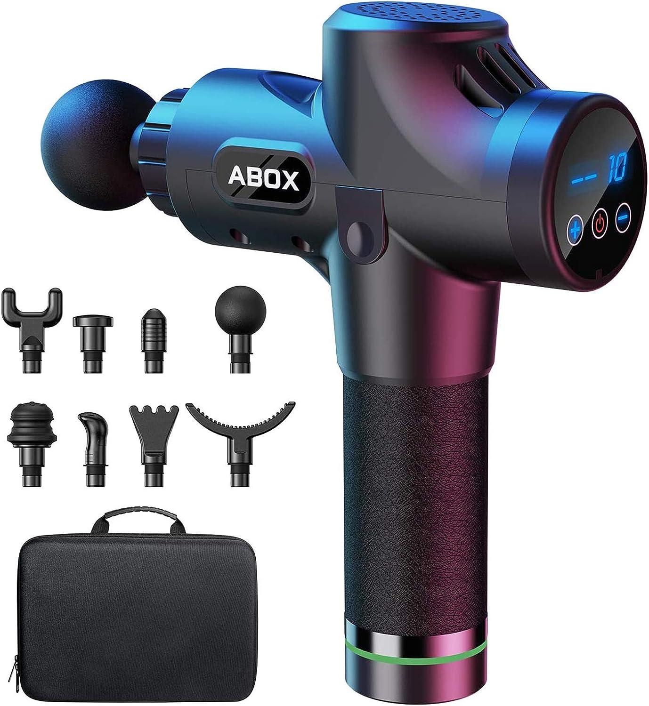 Pistola masaje muscular Abox. 8 cabezales y 12mm de profundidad, 45db