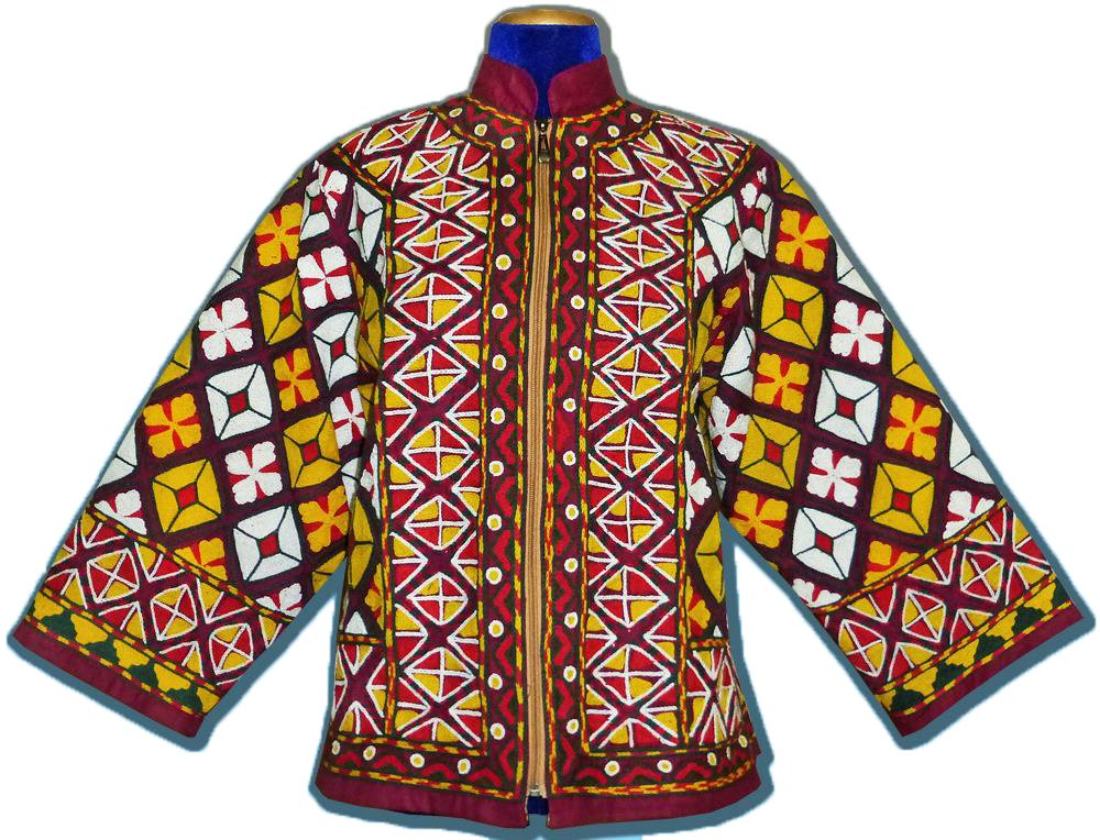 RARE TURKMEN UZBEK BEAUTIFUL FULLY HANDMADE EMBROIDERY NATURAL SILK JACKET T893 by East Treasures