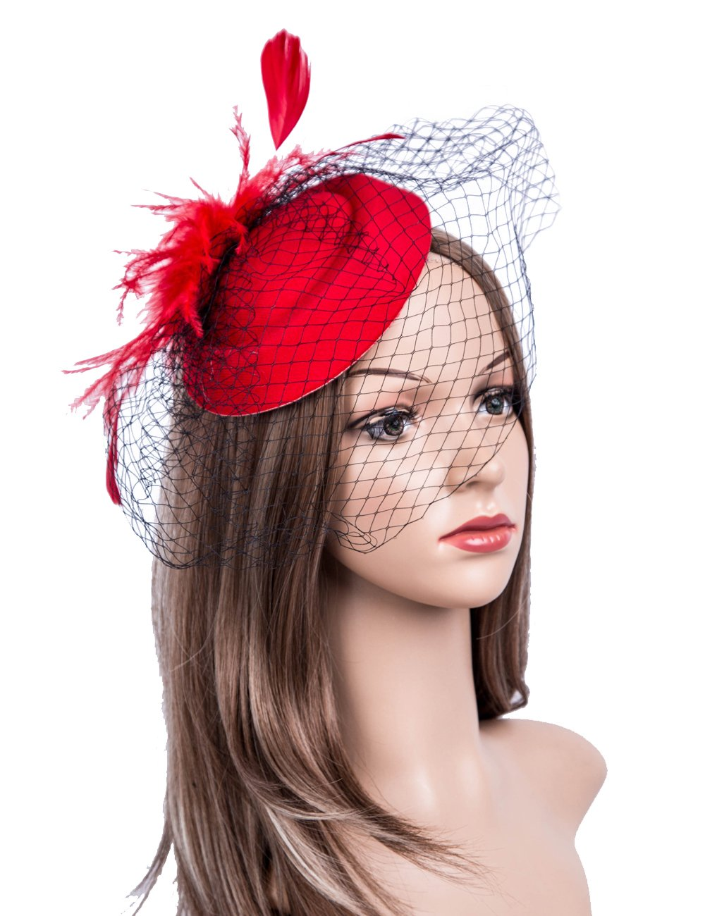 Cizoe Fascinators Hats 20s 50s Hat Pillbox Hat Cocktail Tea Party Headwear with Veil for Girls and Women(B-Red)