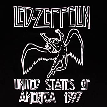 Official Led Zeppelin Men/'s Black T-Shirt US IMPORT USA 1977 Red Letters