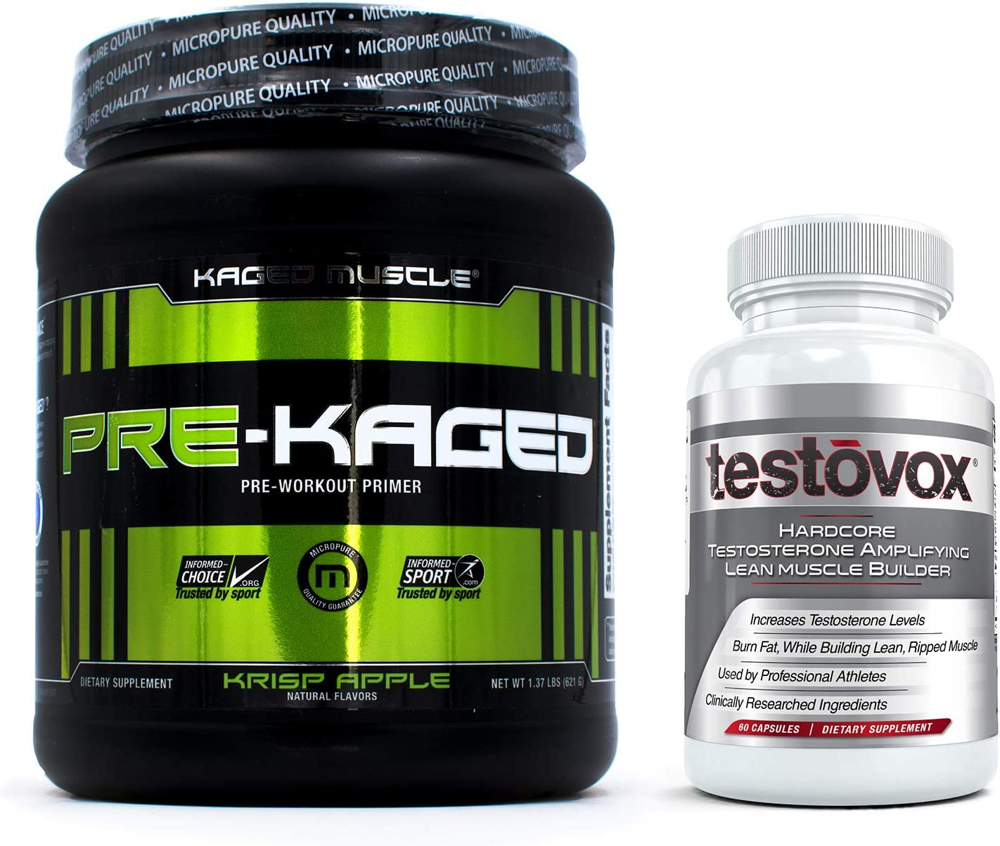 Pre-Kaged Pre Workout (20 Servings) and Testovox (60 Capsules) - Extreme Muscle Building Bundle   Performance Enhancing Testosterone Booster and Pre-Workout Supplement Stack (Krisp Apple)