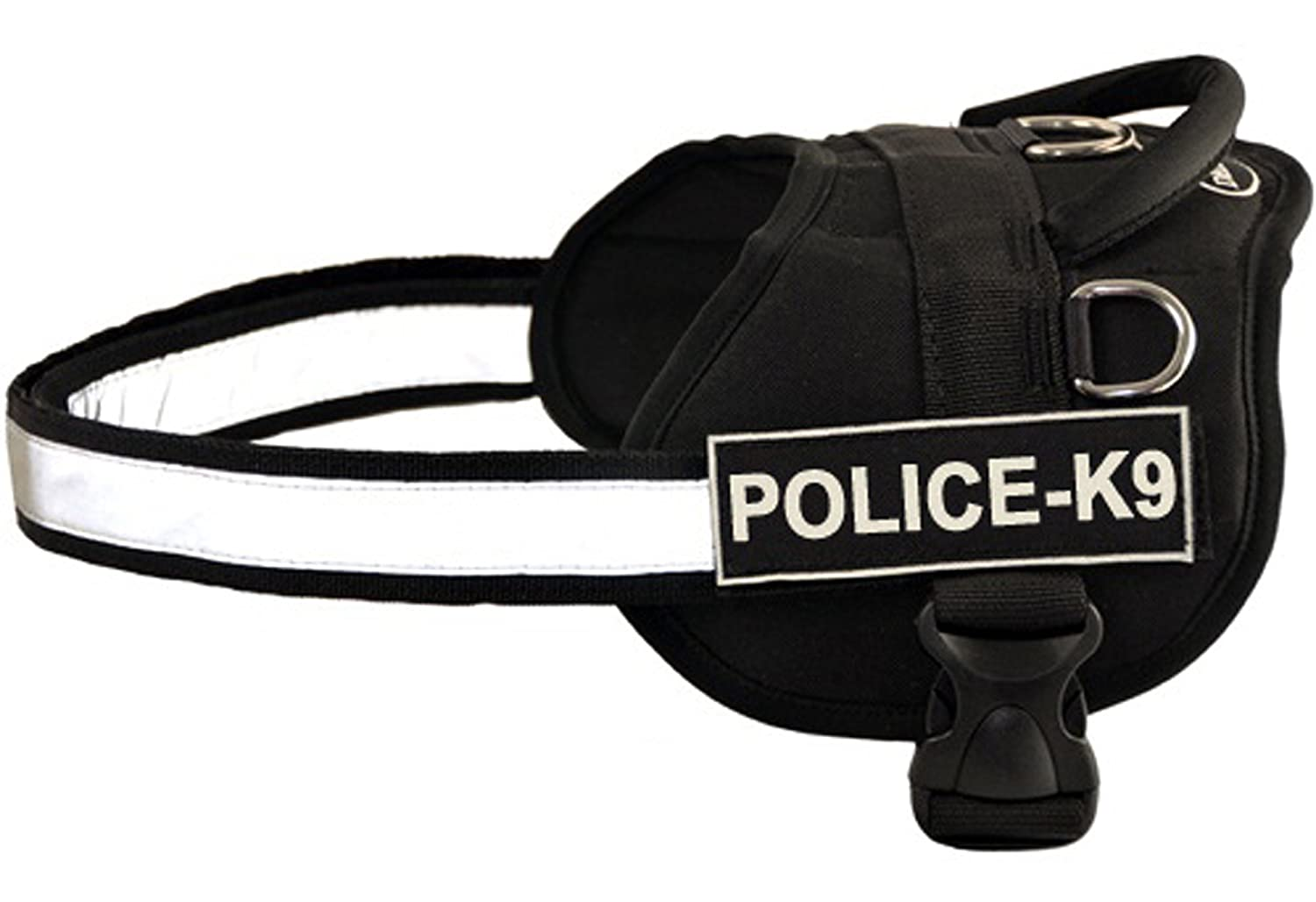 Dean & Tyler Works Harness, Police-K9, XX-Small-Fits Girth, 46cm to 53cm, Black White