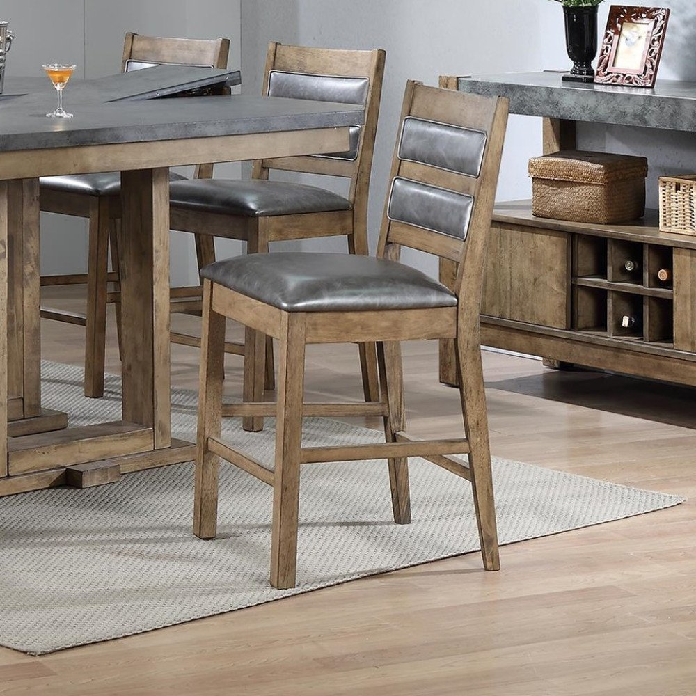 Amazon com designer rubber wood high chairs with foot rest set of 2 brown and gray kitchen dining