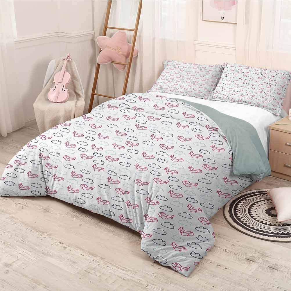 prunushome Airplane Duvet Cover Set Cute Pink Airships with Clouds in Blue Tones Doodle Kids Journey Duvet Cover Set & Pillowcase Navy Blue Pale Blue Hot Pink Twin