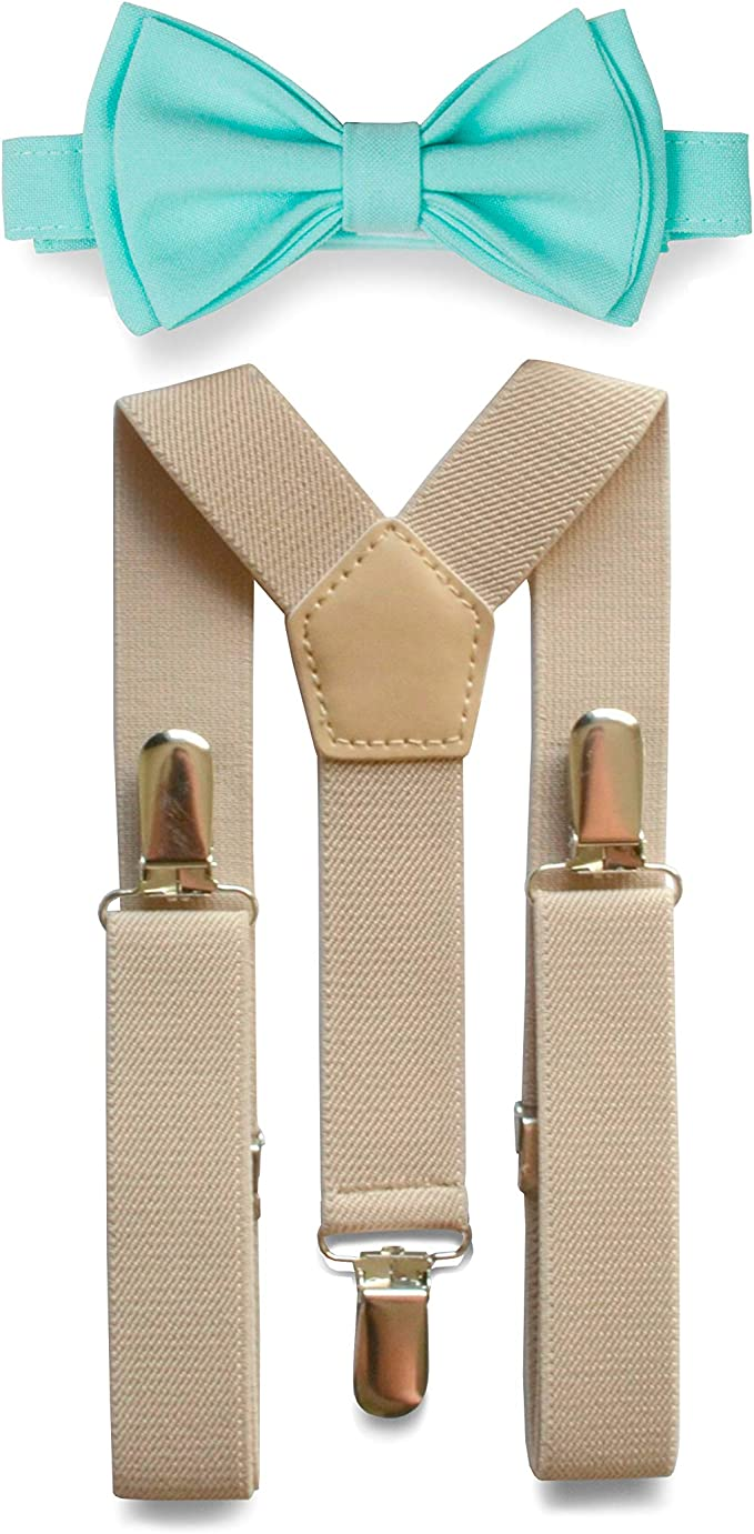 Brown Fancy Suspender and Bow Tie Set for Baby Toddler Kids Boys USA Seller