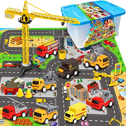 EXERCISE N PLAY Mini Fire Fighting Truck Transport Delivery Truck Construction Vehicle Play Set with a Kid Play Car City Map 28 x 31 Boys or Girls Engineering Vehicle Toy Play Cars for Kids