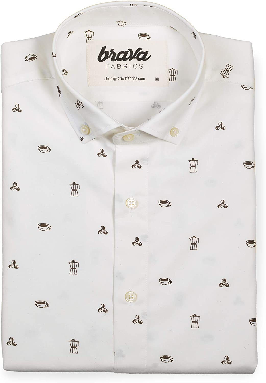 Brava Fabrics | Camisa Hombre Manga Larga Estampada | Camisa Blanca para Hombre | Camisa Casual Regular Fit | 100% Algodón | Modelo Roasted Morning: Amazon.es: Ropa y accesorios