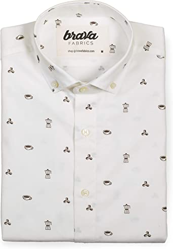 Brava Fabrics Camisa Hombre Manga Larga Estampada Camisa