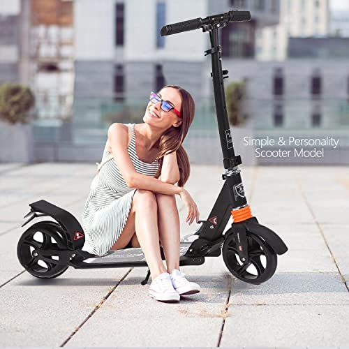 Kids Adult Scooter with 3 Seconds Easy-Folding System, 220lb Folding Adjustable Scooter with Without Disc Brake and 200mm Large Wheels Black-Middle