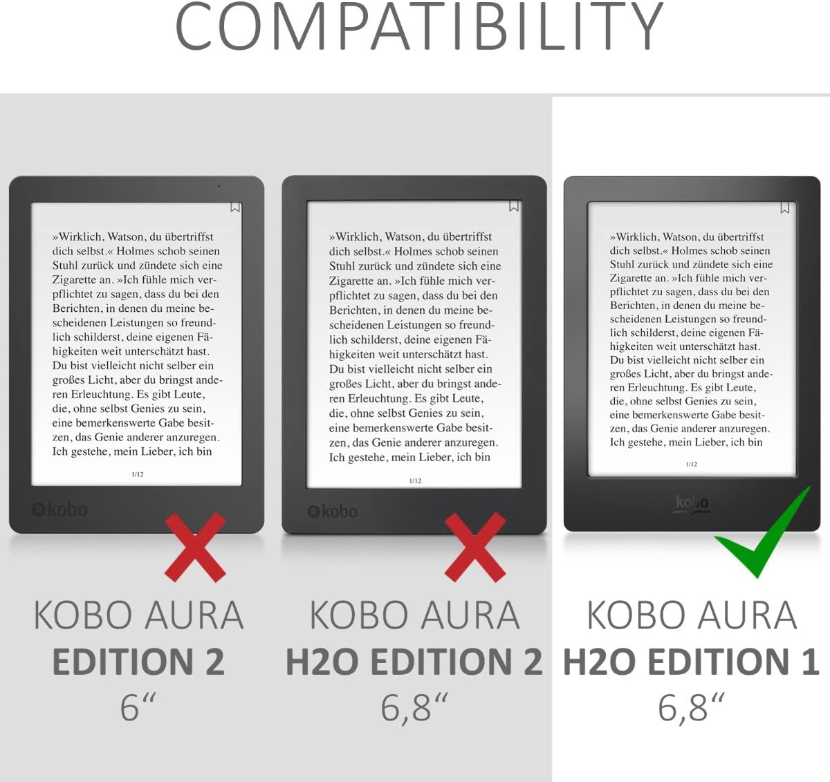 kwmobile Funda compatible con Kobo Aura H2O Edition 1: Amazon.es ...