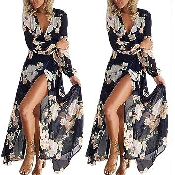 Evening Party Long Maxi Dresses Women s V-neck Long-Sleeved Split Dress Long  Skirt adaa8a2f9