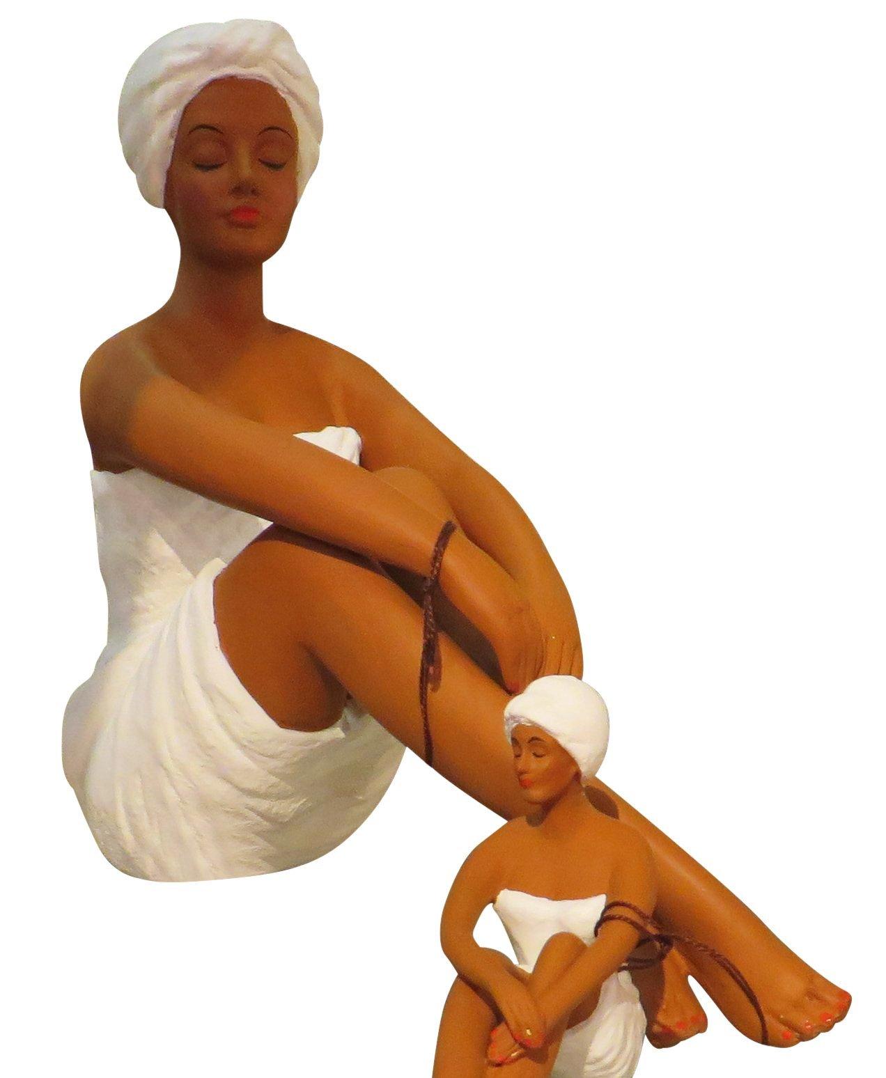 African American Spa Woman Figurine Shelf Tabletop | Beauty Salon Black