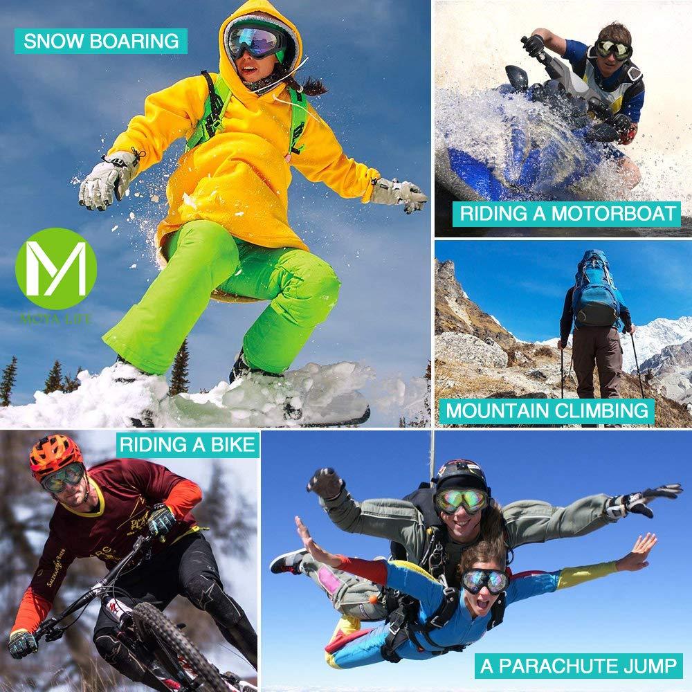 d5de56f8cf0 MOYA Life Gafas de Esquí Prueba de Polvo Protección de la Nieve Protección  UV Ajustable Hombre Mujer Niño al Aire Libre Portable de la Motocicleta  Snowboard ...