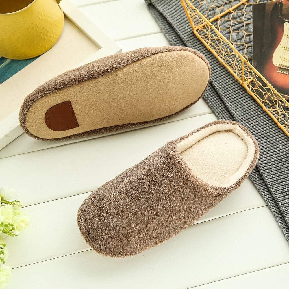 Goldweather Women Men Comfy Slip On Memory Foam Slippers Winter Warm Plush Soft Anti-Slip House Shoes