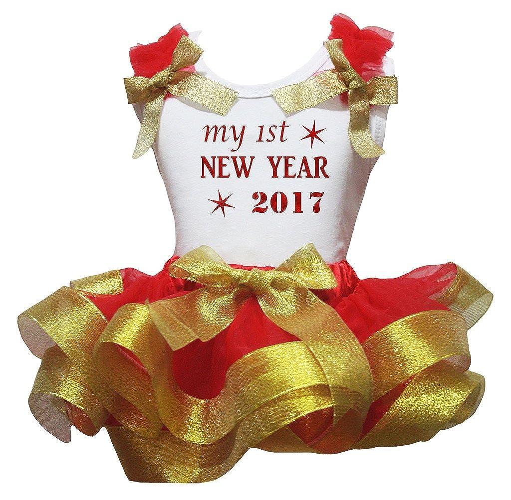 Petitebella First New Year White Shirt Red Petal Skirt Gold Ribbon Nb-8y