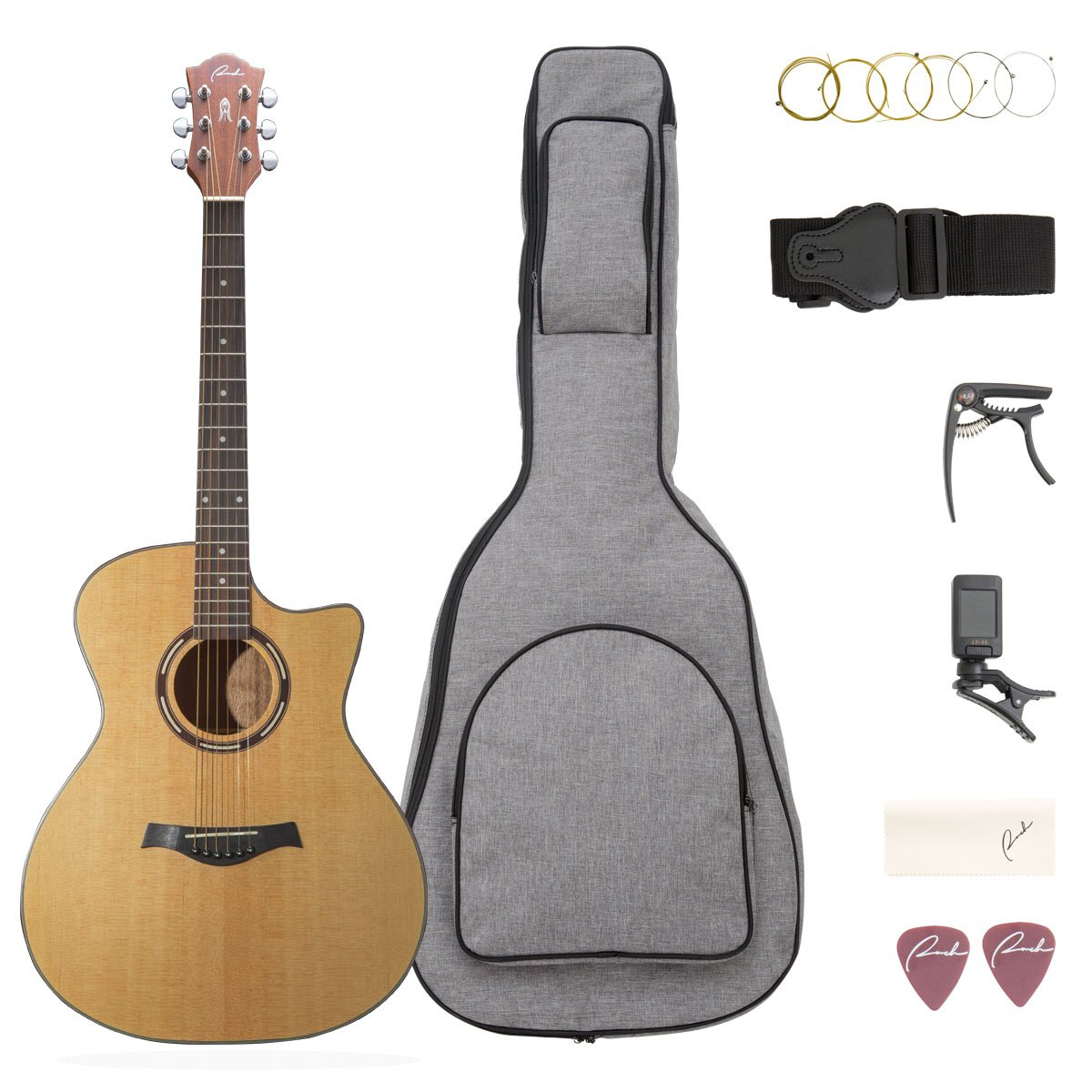 Beginner Acoustic Guitar 41'' Guitar, Cutaway Steel String Acoustic Guitar Bundle with Gig Bag, Tuner, Capo, Picks, Strings, Strap and Polishing Cloth Starter Kit