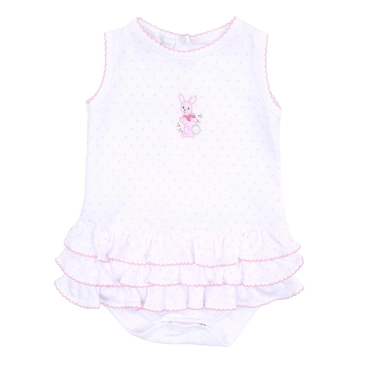 Magnolia Baby Baby Girl Vintage Bunnies Emb Ruffle Bubble Pink