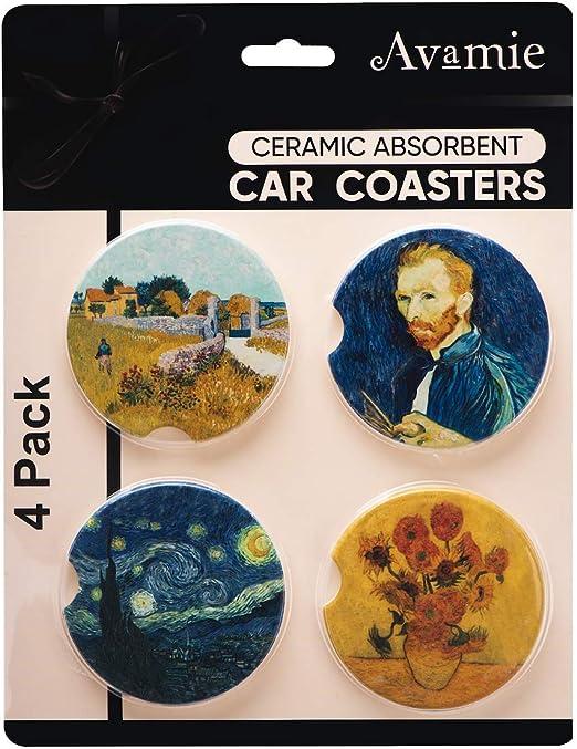 Avamie Auto Untersetzer 4 Pack Auto Getränkehalter Untersetzer Saugfähige Keramik Untersetzer Für Auto 6 5 Cm Van Gogh Inspirations Design Für Damen Und Herren Küche Haushalt