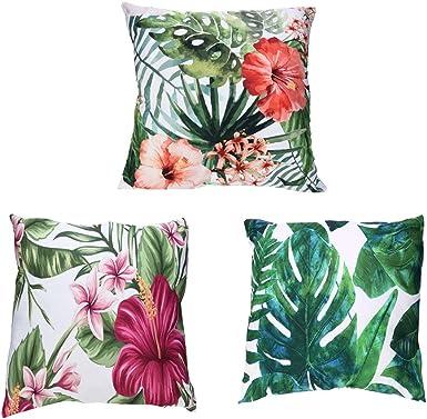 Fossrn 3PC/Conjunto Fundas Cojines 45x45 Tropical Flor Hojas Funda de Cojines para Sofa Jardin Cama Decorativo (01) (01): Amazon.es: Ropa y accesorios