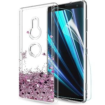 641ae9770d0 LeYi Funda Sony Xperia XZ3 Silicona Purpurina Carcasa con HD Protectores de  Pantalla,Transparente Cristal Bumper Telefono Gel TPU Fundas Case Cover  para ...