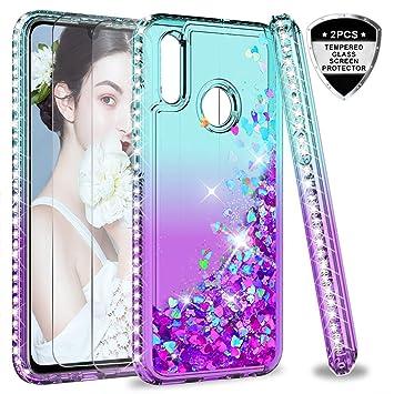 LeYi Funda Huawei Honor 10 Lite/P Smart 2019 Silicona Purpurina Carcasa con [2-Unidades Cristal Vidrio Templado],Transparente Cristal Bumper Fundas ...