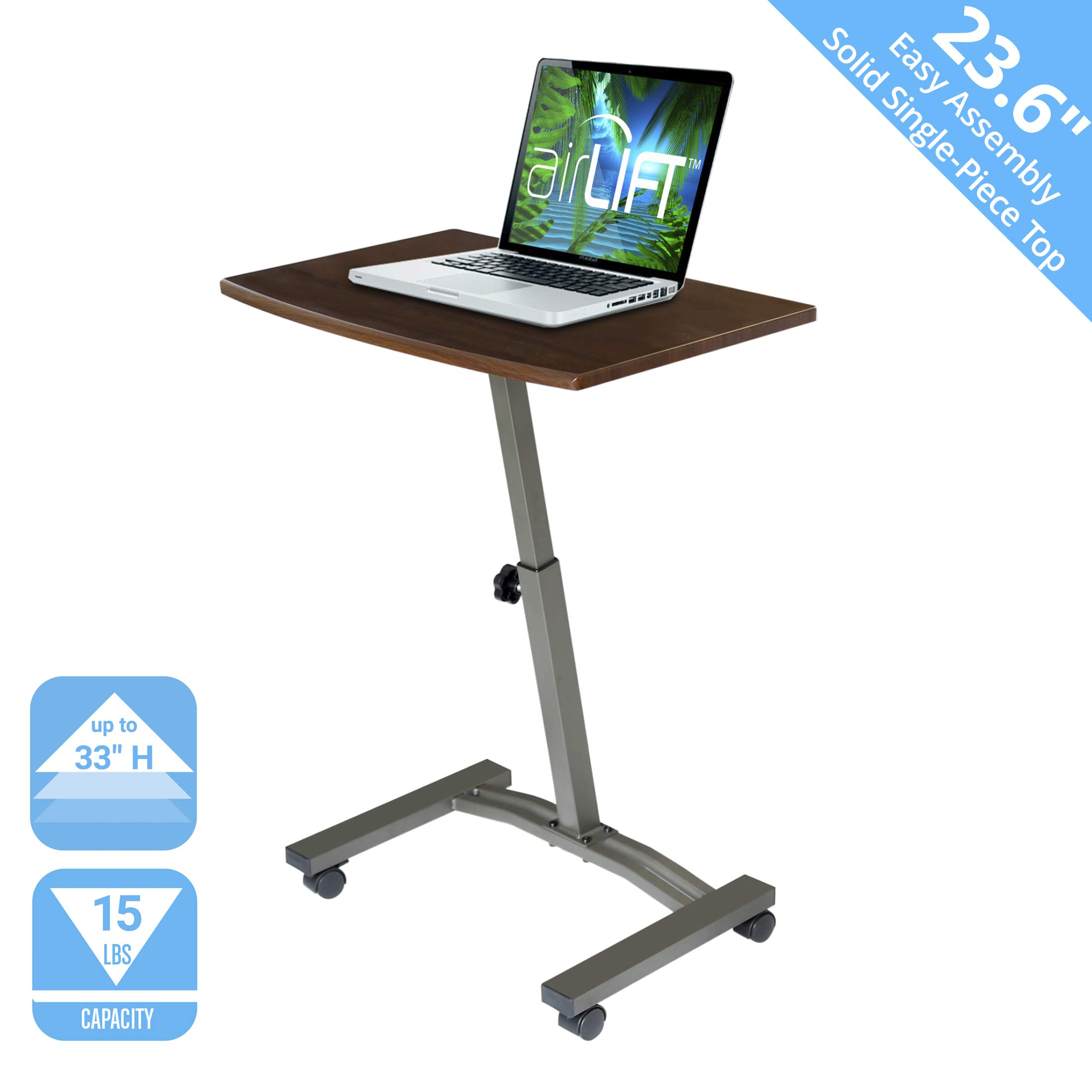 Seville Classics WEB162 Solid-Top Height Adjustable Mobile Laptop Desk Cart, 23.6'' W x 16'' D x (20.5'' to 33'' H), Walnut, by Seville Classics