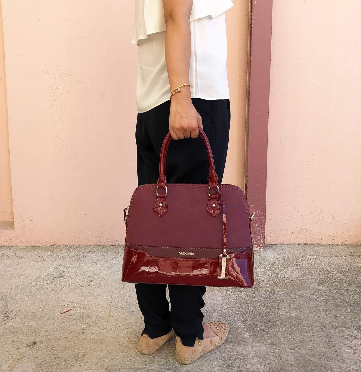 David Jones - Women s Bugatti Handbag - Patent Glossy PU Leather Bowling Bag  - Top Handle Shoulder Crossbody Bag Stripes - Elegant Duffel Tote Bag ... ed13a0cb574c0