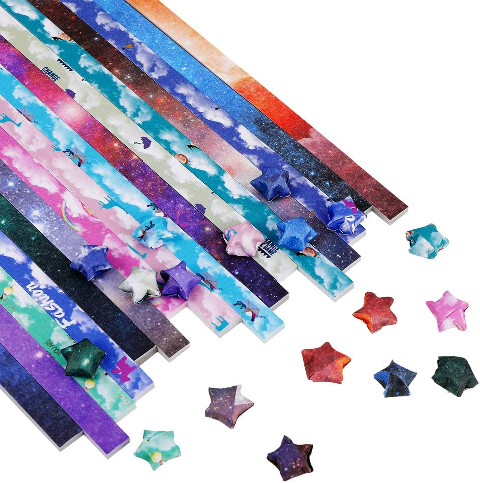 Origami Stars Paper 540 Sheets DIY Paper Folding Strips Lucky Star Origami Paper Craft Folding Paper Sided Decoration Paper Strips for Kids Arts