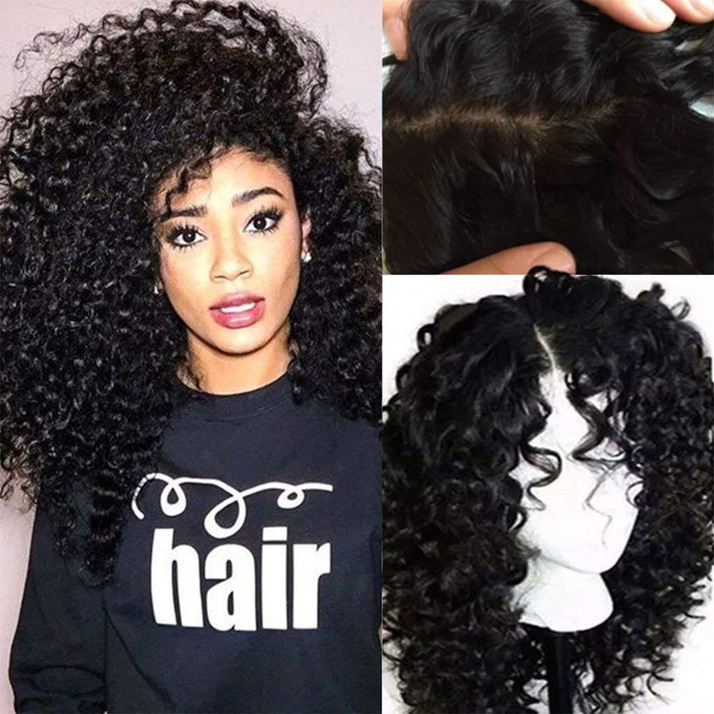 100% Brazilian Glueless Lace Front Human Hair Wigs Deep Wave Curly Baby Hair Natural Hairline Black Women (20-26Inch) Lady wig