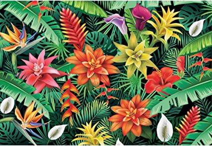 OERJU 10x8ft Tropical Forest Backdrop Sunshine Purple White Flowers Green Leaves Photography Background Video Making Wallpaper Baby Girls Boys Birthday Party Decoration People Portrait Photo Props